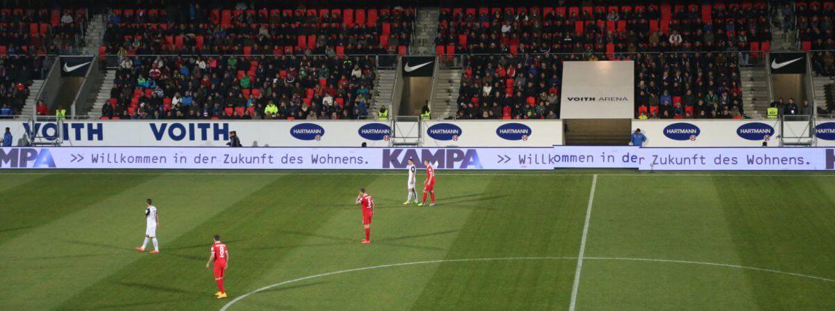 """ドイツサッカー""""1.FCハイデンハイム""""のスタジアム「フォイト・アレーナ」にも同じLEDが輝いています!"""