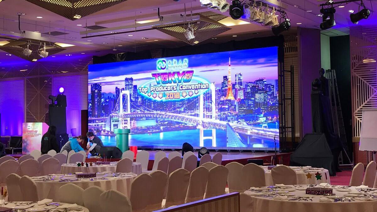 縦3.5m×横9mの大型LEDビジョンをレンタルにて導入しました「香港生命保険株式会社パーティー / ヒルトン東京」