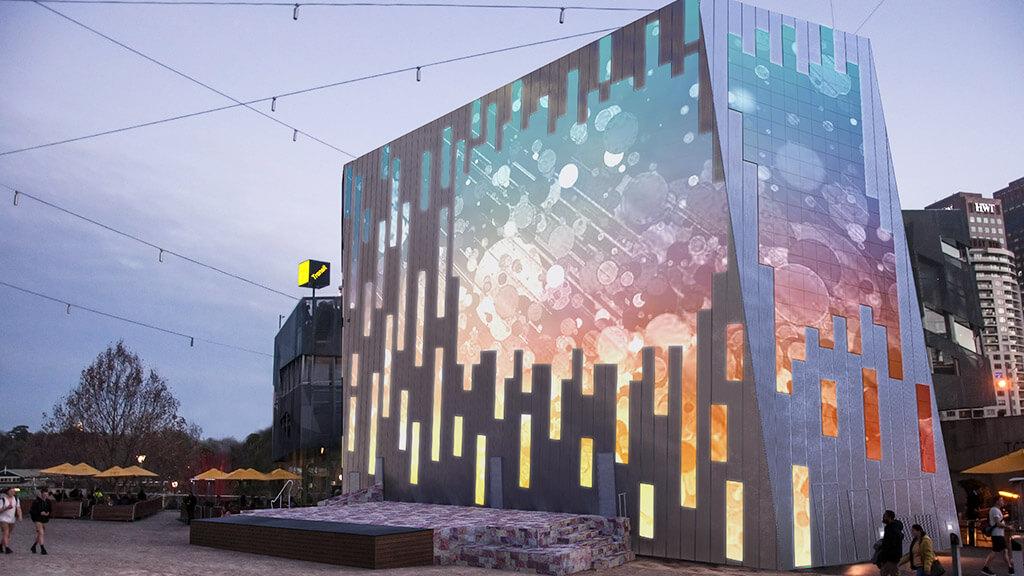 オーストラリア・メルボルンの芸術的建物に設置されたLEDビジョン「Federation Square」