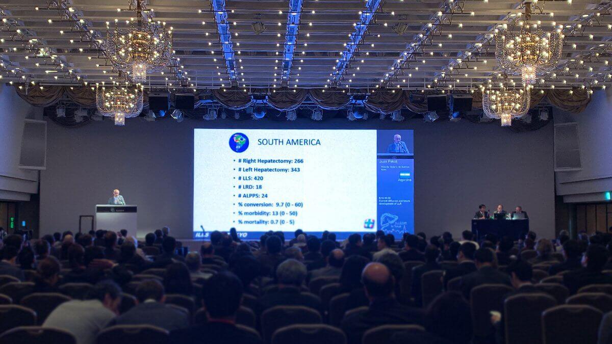 京王プラザホテルにて開催された第2回国際肝臓内視鏡外科学会「ILLS 2019」に大型LEDビジョンを設置しました