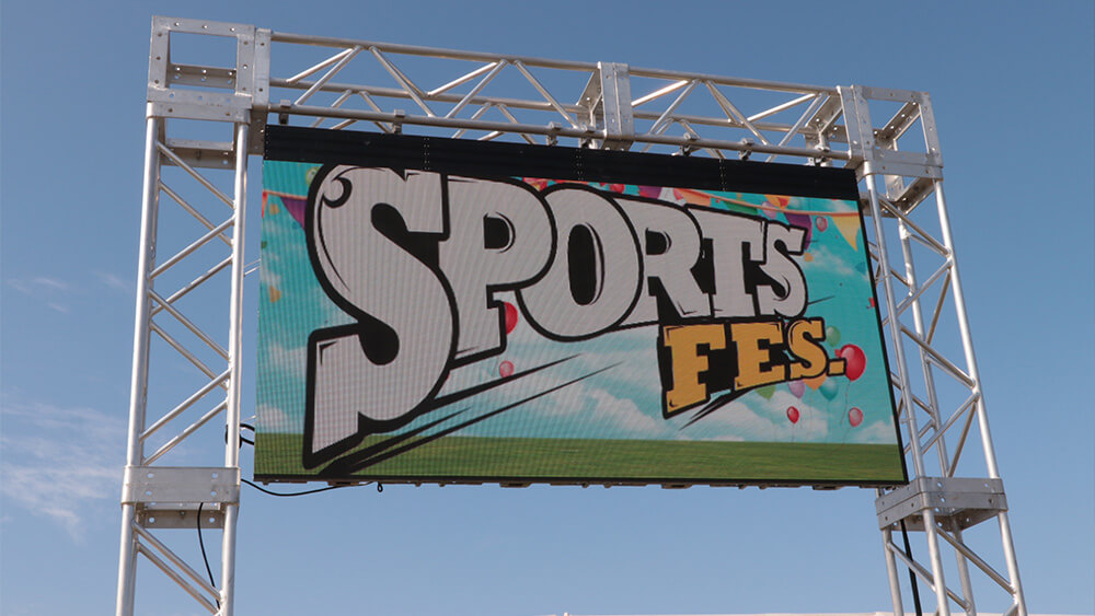 運動会に屋外⽤LEDビジョン!「株式会社ジョイパック」の社内スポーツフェスティバルにLEDビジョンを設置しました